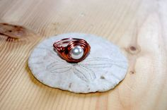 Copper Wire Wrapped Pearl Ring pearl copper ring copper by Cyclop