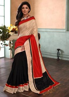 eb2bbe5a8c Exclusive Benarasi designer saree with ikat pallu & black chanderi pleats