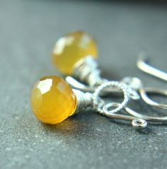 Yellow Chalcedony  Earrings    Handmade Jewelry    by hildes, $32.00