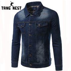 TANGNEST New Arrival 2017 Denim Jacket Men Fashion Casual Slim Single Breasted Men Jacket Three Colors Plus Size 5XL MWJ2128 #Affiliate
