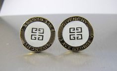 Gold Givenchy White Enamel Earrings GG Logo by TonettesTreasures