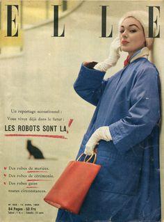 Couverture Elle n°435 du 12 avril 1954 - mannequin Ivy en imperméable Dior - photo Lionel Kazan