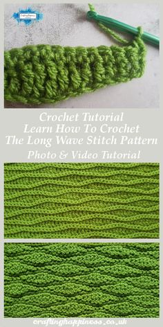 Crochet Long Wave Pattern Tutorial Crochet Tutorial: Learn How To Crochet The Long Wave Stitch Pattern Photo & Video Tutorial - Crafting Happiness Crochet Crafts, Crochet Projects, Free Crochet, Easy Crochet, Crochet Ideas, Crochet Baby, Diy Crafts, Crochet Stitches Patterns, Stitch Patterns