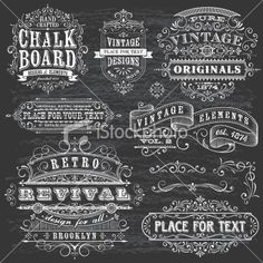 Chalkboard Effect Frames and Elements Royalty Free Stock Vector Art Illustration