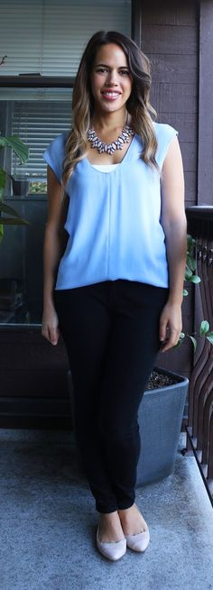 941bd6426b8 Jules in Flats September Outfit - J.Crew Cap Sleeve Shirttail Blouse