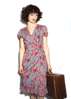 Gabrielle Parker VINTAGE ROSE SMOKEY BLUE TEA DRESS