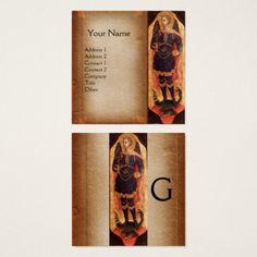 ST MICHAEL ARCHANGEL AND DRAGON Parchment Monogram Square Business Card  #religious #christian #fineart #angels #devil