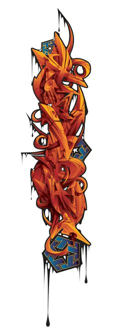 2004 t-shirt design for Tribal gear. 3D Tribal vertical sleeve by Misk1