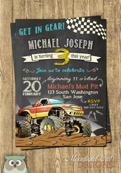 Monster Truck Birthday Invitations by MoonlightOwlDesigns on Etsy