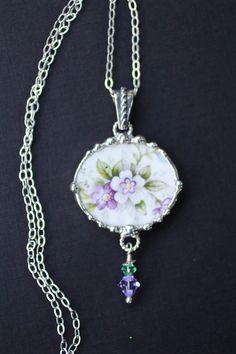 Broken China Jewelry Oval Pendant Necklace by Robinsnestcreation1