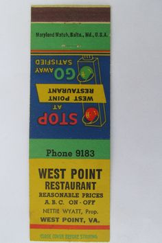 West Point Restaurant Virginia Va Vintage 20 Strike Matchbook Cover Match