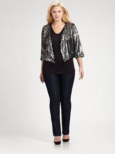 NEED this jacket! Sequined Cropped Jacket #plus #size