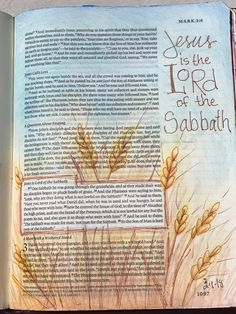 Mark 3:23-28. So the Son of man is Lord even of the Sabbath. Sherrie Bronniman -Art Journaling: In My Bible