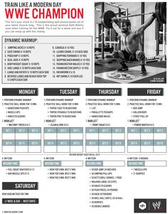 haha this workout, hurl. pinning because i love this layout. typo though, rest days are wed and sun i think Workout Schedule, Gym Workouts, At Home Workouts, Bodybuilding Training, Bodybuilding Motivation, Seth Rollins Workout, Wwe Seth Rollins, Wrestling Workout, Athlete Workout