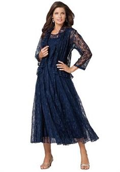 Plus Size Fit & Flare Lace Jacket Dress image