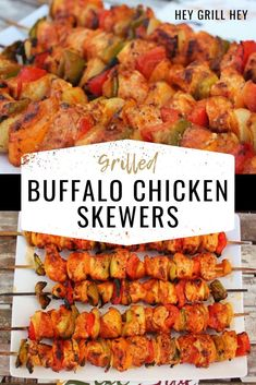 These Grilled Buffalo Chicken Skewers are tender bites of perfectly seasoned chicken, roasted peppers, and onions all smothered in a tasty Buffalo sauce. Buffalo chicken is everyone's favorite, and these skewers come together in a cinch! Grilled Buffalo Chicken, Healthy Buffalo Chicken, Grilled Chicken Recipes, Bbq Chicken, Chicken Wings, Healthy Grilling, Grilling Recipes, Cooking Recipes, Healthy Recipes