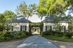 Entrance archway of luxury home in Savannah, Georgia