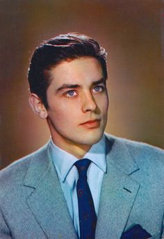 ALAIN DELON by SAM LEVIN Vintage 1950's/60's European film star postcard Fabrication Francaise (Follow minkshmink on pinterest)