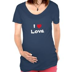 """""""I Love Love"""" heart maternity t-shirt. Customizable to add your own text. http://www.zazzle.com/jollyhearts"""