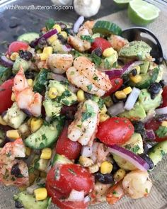 Lime Shrimp and Avocado Salad - a salad packed full of vegetables that Cilantro Lime Shrimp and Avocado Salad - a salad packed full of vegetables that . Cilantro Lime Shrimp and Avocado Salad - a salad packed full of vegetables that . Seafood Dishes, Seafood Recipes, Mexican Food Recipes, Diet Recipes, Cooking Recipes, Healthy Recipes, Avocado Recipes, Quick Salad Recipes, Recipies