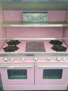 Vintage Western Holly PINK Stove Double Oven Wedgewood Mid Century Modern  GAS