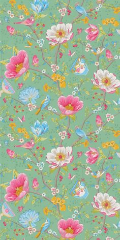 This wallpaper design is the beautiful Chinese Garden by Pip Studio and features birds, butterflies and tea cups.