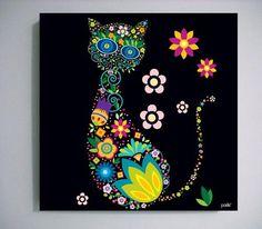 pasteonline - Gato con flores ::