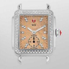 Michele Deco 16 Diamond Metallic Rose Gold Diamond Dial Watch