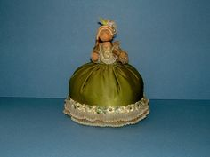 Vintage Pin Cushion Antique Edwardian Green by QueensParkVintage, $45.00