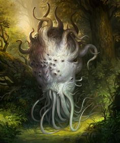 Fantastic illustrations created by Jakub Kasper for PoxNora: Battlefield of the Immortals. Jakub is an illustrator and concept artist based in Laziska, Poland. Jakub studied in Academy of Fine Arts in Poznań faculty of Art Education in Alien Creatures, Fantasy Creatures, Mythical Creatures, Creature Concept Art, Creature Design, Dark Fantasy Art, Fantasy Artwork, Cthulhu, Lovecraftian Horror