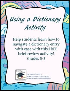 FREE Activity to help students learn the parts of and how to correctly use a dictionary to help learn vocabulary and complete vocabulary activities....
