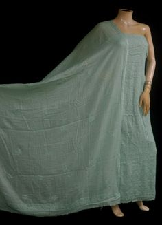 ISHIEQA's Sea Green-A Kota Doria Chikankari Dress Material - RC0101E Lucknowi Kurta, Black B, White P, Green Cotton, Cotton Dresses, Pink Grey, Chiffon, Pure Products, Sea