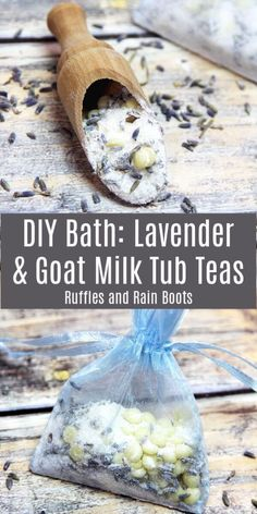 Lavender Goat Milk Bath Tea – A Relaxing Tub Tea Recipe These lavender and goat milk tub teas are absolutely amazing! If you need a quick gift idea or a relaxing pampering session, these are the thing. Bath Recipes, Soap Recipes, Goat Milk Recipes, Diy Peeling, Milk Bath, Homemade Beauty Products, Lush Products, Hair Products, Goat Milk Soap
