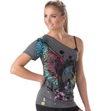One-Shoulder Peace Sign T-Shirt; Urban Groove
