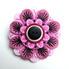 Passion Flower felt brooch with freeform embroidery-I love this felt brooch!!