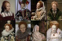 A collage of images from Elizabeth R, starring Glenda Jackson, costumed as Elizabeth I..