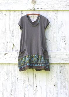 Eco friendly gray day dress  upcycled funky size by wearlovenow