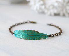 Feather Bracelet Patina Verdigris Brass Blue Feather Bracelet, Boho Chic Bohemian Bracelet, Feather Jewelry, Rustic Vintage, Christmas Gift