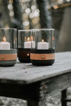 Lantern or votive candle holder, any pillar candle shines beautifully through the Emma Lantern's glass top. Perfect for a dining table centerpiece or outside by a fire. Crafted with a powder coated steel base and egetable tanned Tärnsjö leather. Votive Candle Holders, Candle Lanterns, Votive Candles, Leather Accessories, Home Accessories, Fireplace Tools, Candle Making, Leather Craft, Decoration