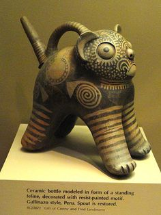 File:Bottle in form of standing feline - Moche pottery in the American Museum of Natural History - DSC06074.JPG