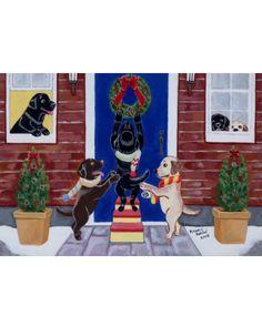 Christmas Fun Labradors Art Print