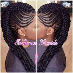 Mohawk Black Hair Feed In Braids