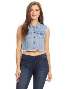Anna-Kaci Womens Juniors Cotton Denim Blue Sleeveless Crop Jacket Jean Vest Blue Jean Vest, Blue Denim, Cropped Jeans, Denim Jeans, 90s Fashion Grunge, 90s Grunge, Denim Fabric, Cotton Fabric, Blue Vests