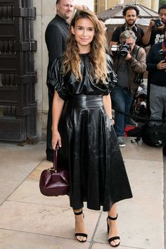 Miroslava Duma attends the Giorgio Armani Prive Haute Couture Fall/Winter show as part of Paris Fashion Week on July 2016 in Paris, France. Fashion Week Paris, Armani Prive, Giorgio Armani, Leather Dresses, Leather Skirts, Jumpsuit Dress, Leather Fashion, Dress Making, Style Icons