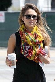 Another Favorite TOLANI scarf for Jessica Alba!! Navajo Print Scarf in Orange!   TolaniCollection.com