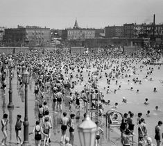 McCarren Park Pool, NYC via nytimes: Opened in the 1936, the McCarren pool had room for 6,800 bathers in its 55,400 square foot basin and offered an alternative for cooling off to the polluted rivers and bays. It was closed in 1984 and the basin turned into a hipster playground but has recently undergone a major renovation, and is scheduled to open this summer. image from NYC Parks Photo Archive #McCarren_Pool #NYC #nytimes
