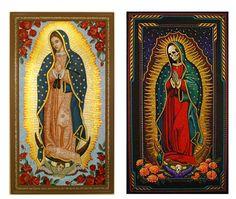 The Virgin of Guadalupe (La virgen de Guadalupe) and Saint Death (Santa Muerte)