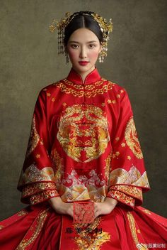 Chinese Gown, Chinese Bride, Traditional Fashion, Traditional Dresses, Hanfu, Cheongsam, Oriental Wedding, Dramatic Look, Chinese Clothing