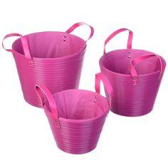 Disponible sur Boutiquedubain.com ! Set de 3 Paniers Rond Rose