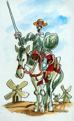 Ilustracion a acuarela de Don Quijote de la Mancha